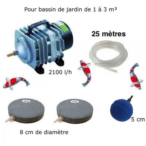 Set Aération 1 boule diffuseur + 2 disques 8 cm Bassin De Jardin De 1000 à 3000 Litres