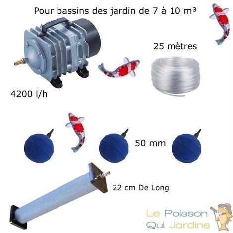 Set aération 1 Diffuseur 22 cm + 3 Boules pour bassin de jardin de 7000 à 10000 litres