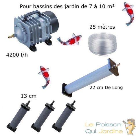 Set aération 1 Diffuseur 22 cm + 3 Diffuseurs 13 cm pour bassin de jardin de 7000 à 10000 litres