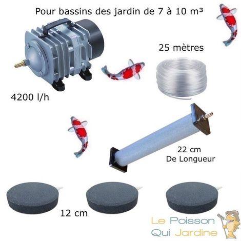 Set aération 1 Diffuseur 22 cm + 3 Disques 12 cm pour bassin de jardin de 7000 à 10000 litres