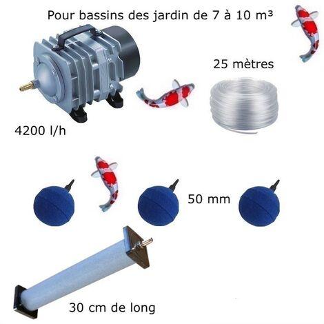 Set aération 1 Diffuseur 30 cm + 3 Boules pour bassin de jardin de 7000 à 10000 litres