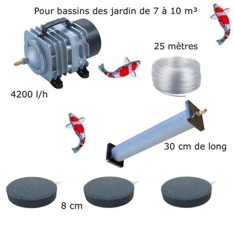Set aération 1 Diffuseur 30 cm + 3 Disques 8 cm pour bassin de jardin de 7000 à 10000 litres