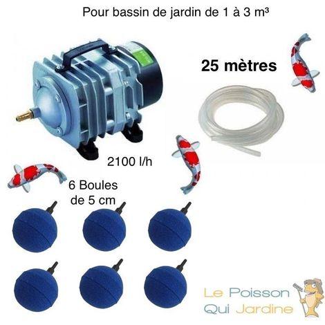 Set aération 6 boules diffuseurs pour bassin de jardin de 1000, 2000 et 3000 l