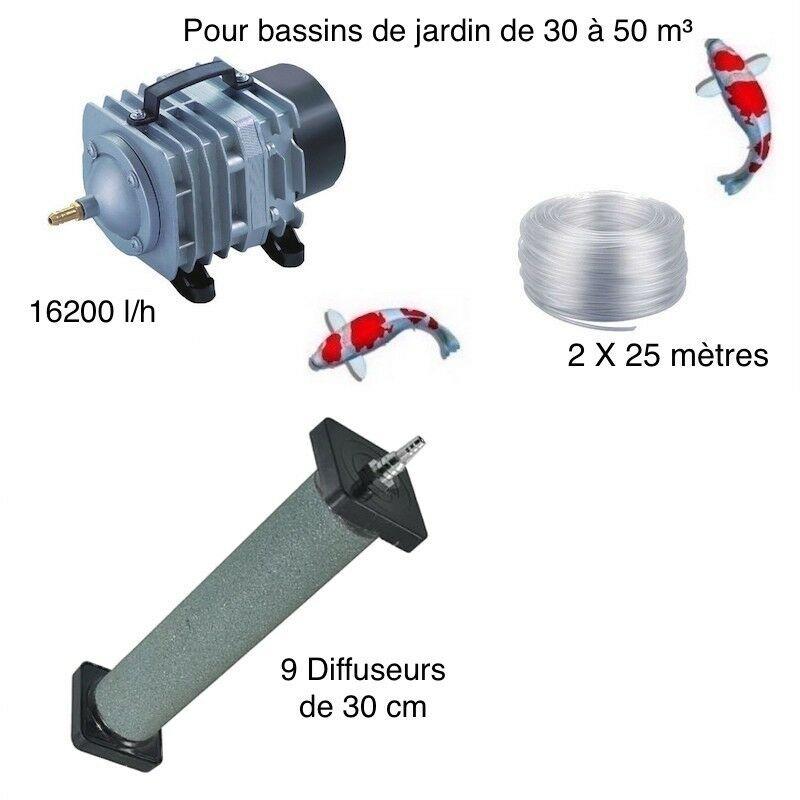 Set aération 9 diffuseurs 30 cm bassin de jardin de 30000 à 50000 litres