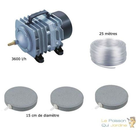 Set aération bassin 3600 l/h 3 disques diffuseurs 15 cm de 5000 à 10000 l