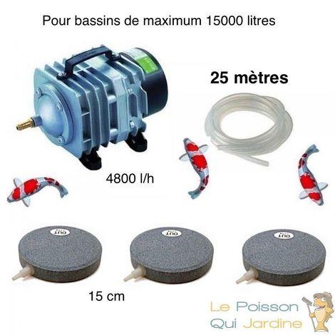 Set aération bassin 4800 l/h 3 Disques 15 cm de 10000 à 15000 litres