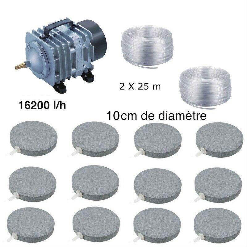 Set aération bassin de jardin 12 disques 10 cm de 30000 à 50000 litres