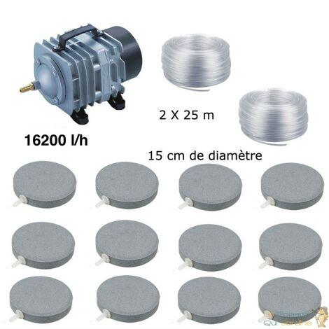 Set aération bassin de jardin 12 disques 15 cm de 30000 à 50000 litres