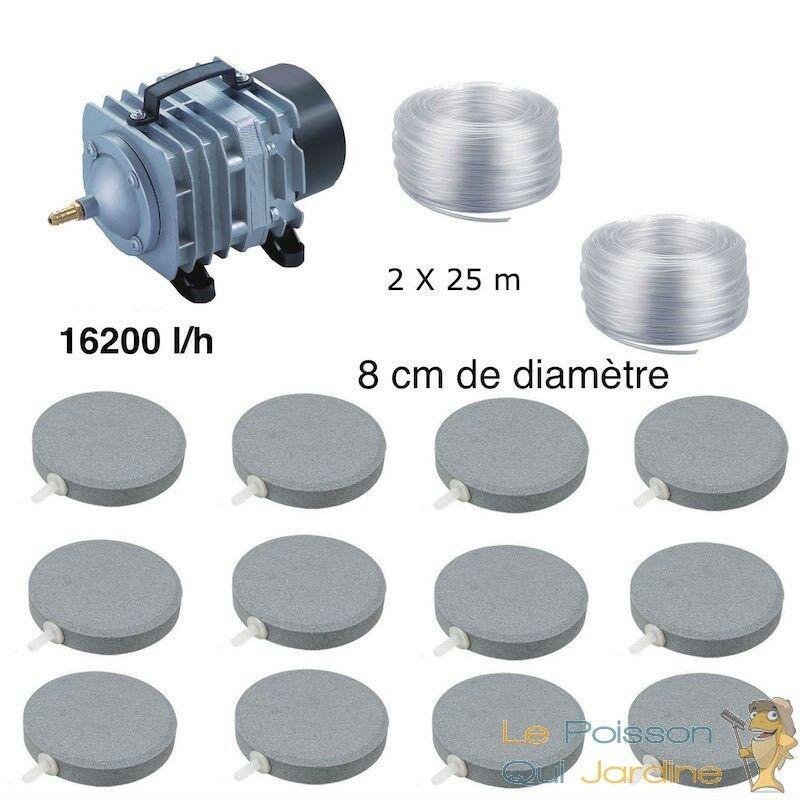 Set aération bassin de jardin 12 disques 8 cm de 30000 à 50000 litres