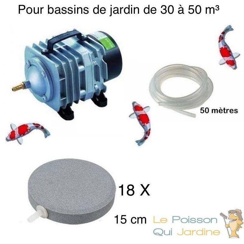 Set aération bassin de jardin 18 disques 15 cm de 30000 à 50000 litres