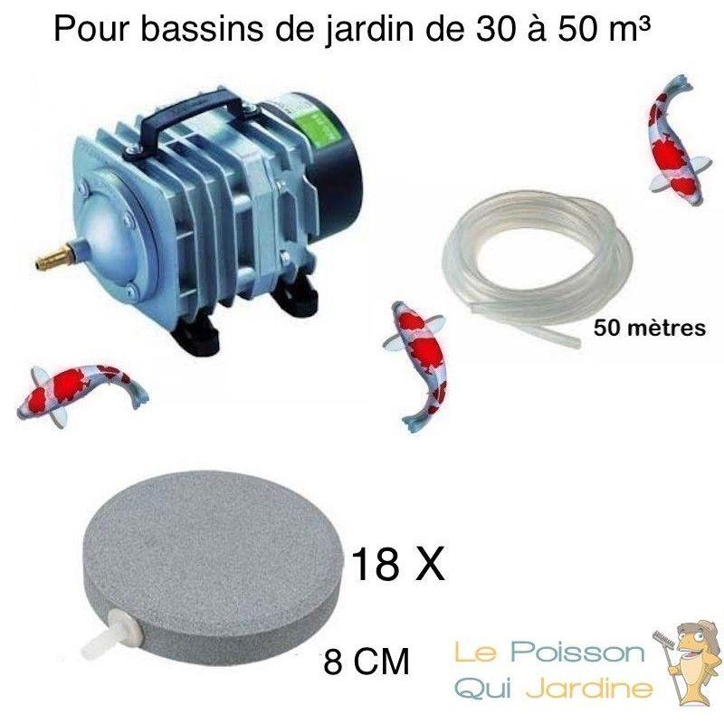 Set aération bassin de jardin 18 disques 8 cm de 30000 à 50000 litres