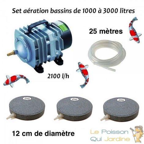 Set aération bassin de jardin 3 Disques 12 cm de 0 à 5000 litres