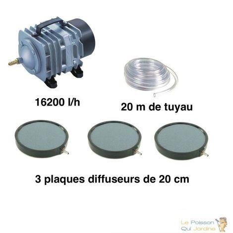 Set aération bassin de jardin 3 disques 20 cm de 30000 à 50000 litres