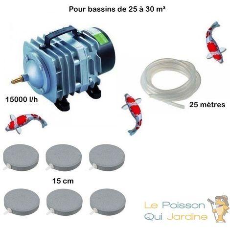 Set aération bassin de jardin 6 disques 15 cm de 25000 à 30000 litres
