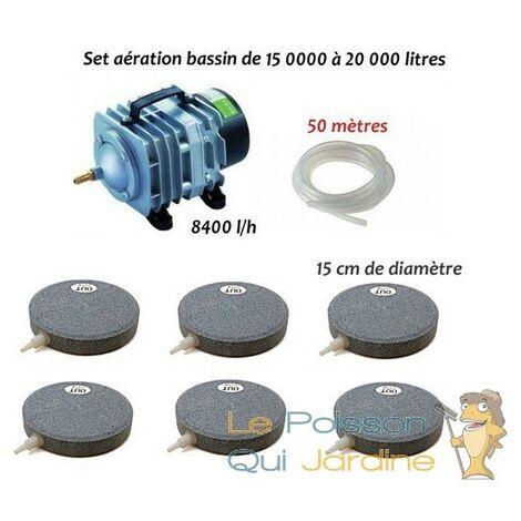 Set aération bassin de jardin 6 Disques de 15 cm pour 15000 à 20000 litres