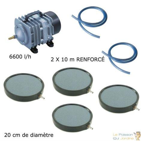 Set aération bassin de jardin 6600 l/h 4 plaques 20 cm - 12000 à 15000 litres