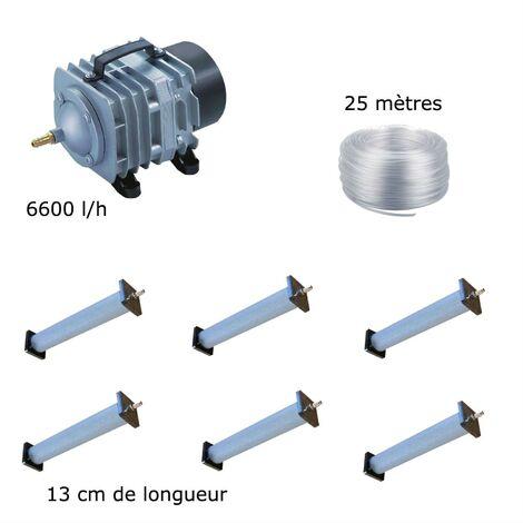 Set aération bassin de jardin 6600 l/h 6 diffuseurs 13 cm - 12000 à 15000 litres