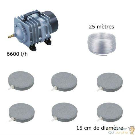 Set aération bassin de jardin 6600 l/h 6 disques 15 cm - 12000 à 15000 litres