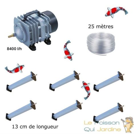 Set aération bassin de jardin 8400 l/h 6 diffuseurs 13 cm de 15000 à 20000 litres