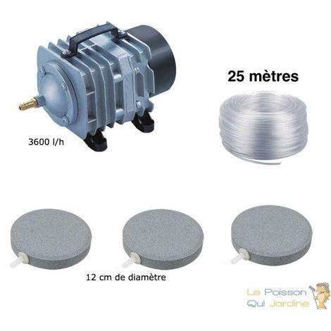 Set aération complet bassin 3600 l/h 3 disques 12 cm de 5000 à 10000 litres