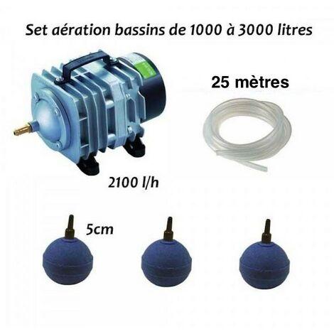 Set aération et oxygénation pour bassin de jardin de 1000, 2000 et 3000 l