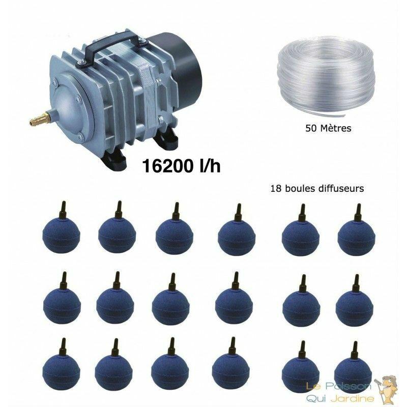 Set aération bassin de jardin 18 boules de 30000 à 50000 litres