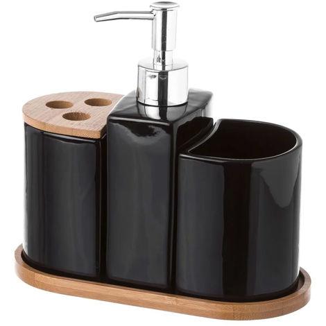 WOVELOT 4 Pezzi Porcellana Bagno Set Europeo Sapone da Bagno in Ceramica Sapone Dispenser Sapone Porcellana Portaspazzolino Decorazione della Casa