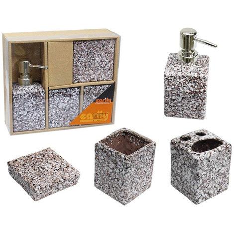 Accessori Bagno In Pietra.Set Bagno 4 Pezzi In Ceramica Effetto Pietra Dispenser Sapone Arredo Bagno 52609 Marrone