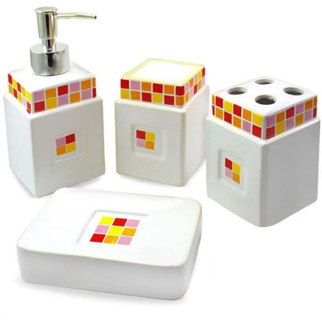 Portasapone Bagno In Ceramica.Set Bagno 4pz Dispenser Portasapone Bicchiere Portaspazzolini In Ceramica Bianca