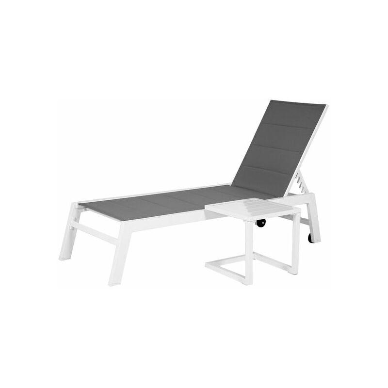 Set bain de soleil et table d'appoint BARBADOS en textilène gris - aluminium blanc - Gris