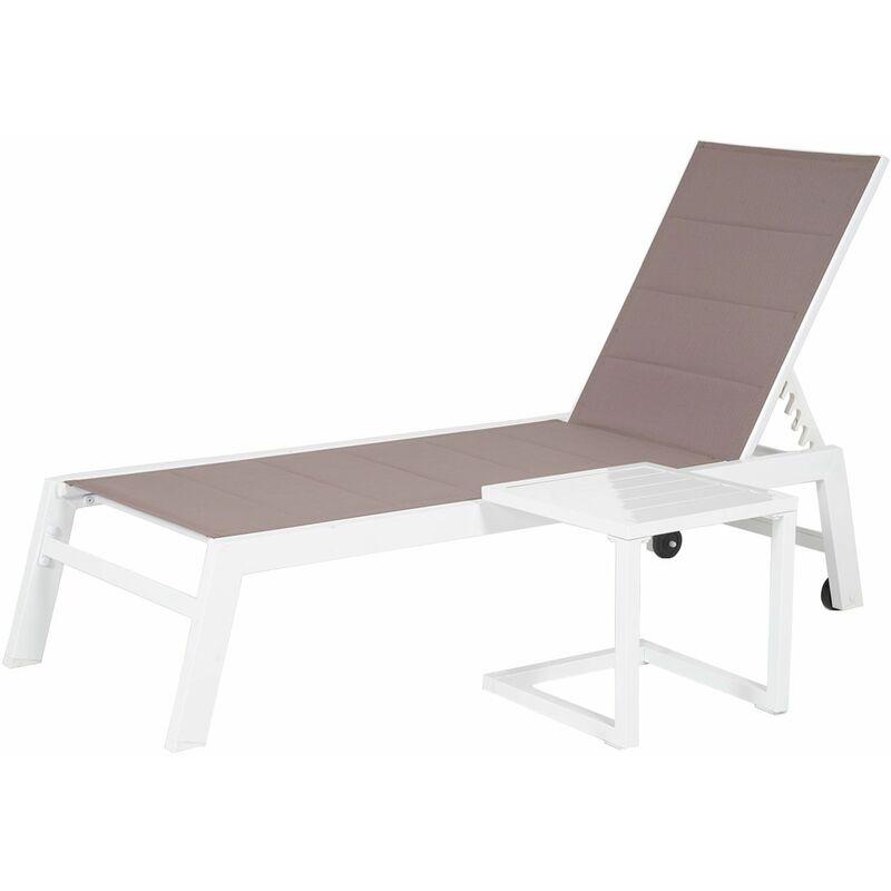 Happy Garden - Set bain de soleil et table d'appoint BARBADOS en textilène taupe - aluminium blanc - Taupe