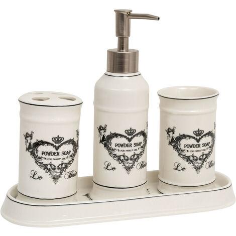 """Set baño """"Jabones Superfinos"""" 4 piezas de porcelana blanca decorada L25xPR10xH21 cm"""
