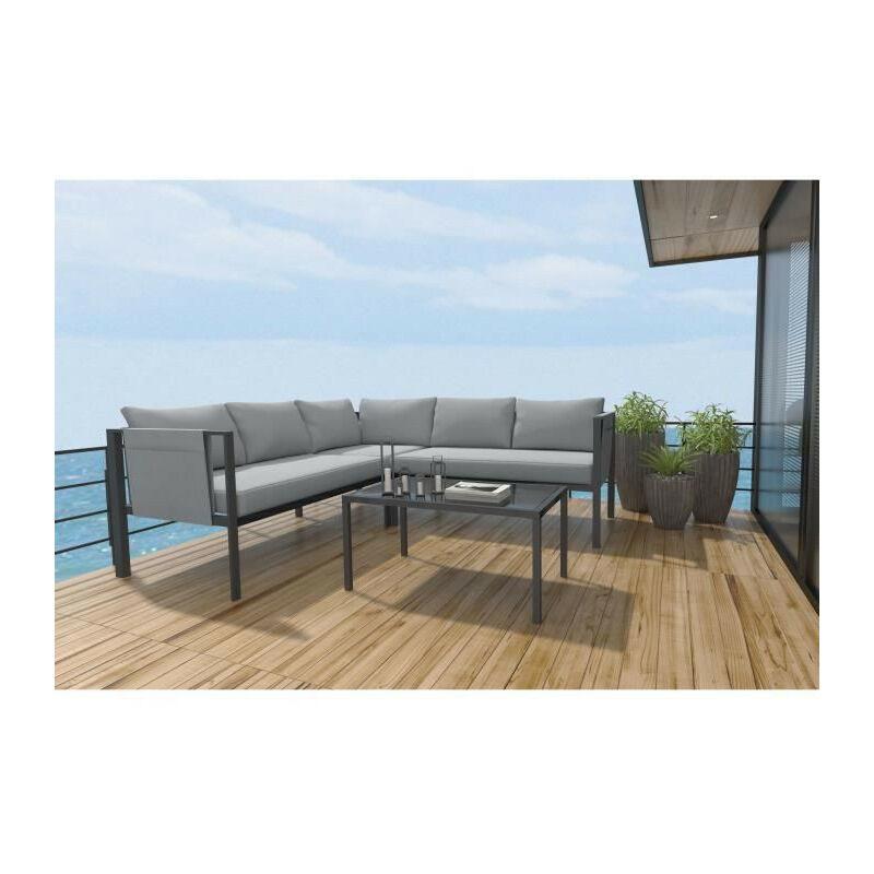 Set bas dangle 4 pieces avec coussins - 2 sofas + 1 fauteuil dangle + 1 table basse - Gris