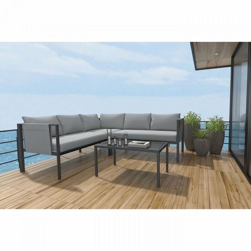 Set bas d'angle 4 pieces avec coussins - 2 sofas + 1 fauteuil d'angle + 1 table basse - Gris
