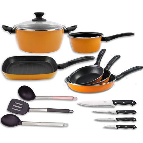 Set BaterÍa Cocina Sunset + Utensilios + 4 Cuchillos