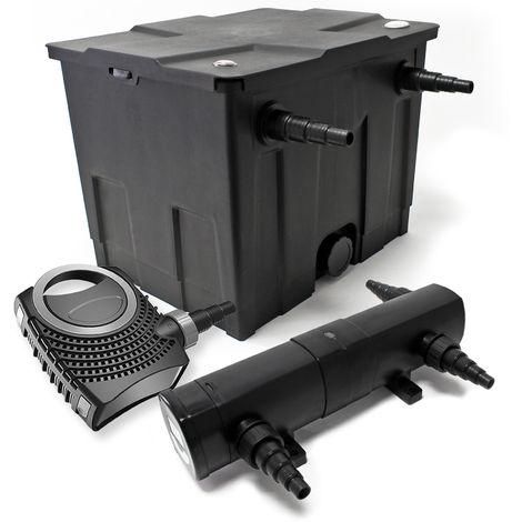 Set Bio filtro para estanque 12.000l 24W UVC Clarificador 80W Bomba jardin
