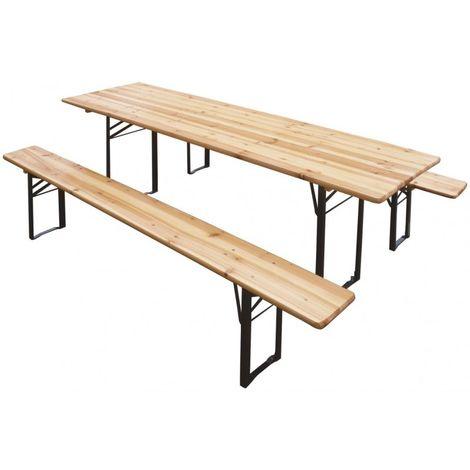 Set birreria 80x200 in legno 2 panche 1 tavolo VERDELOOK - 2360/10