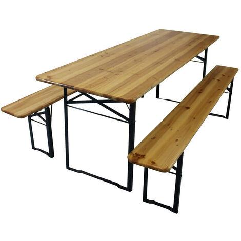 Tavolo E Panche In Legno Da Giardino.Bertozzi Set Birreria Da Giardino In Legno E Ferro Tavolo E 2