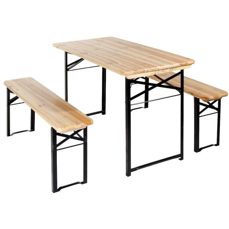Tavoli E Panche Da Birreria.Set Birreria Da Giardino In Legno E Ferro Tavolo E 2 Panche