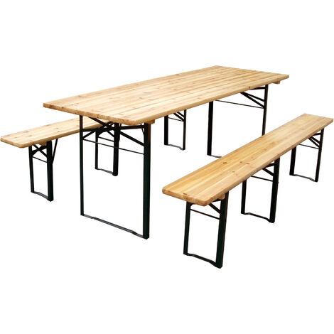 Set birreria due panche + tavolo in legno di abete (panca larghezza 25cm) - con 3 sostegni - MISURE: 200x70x75 Cm
