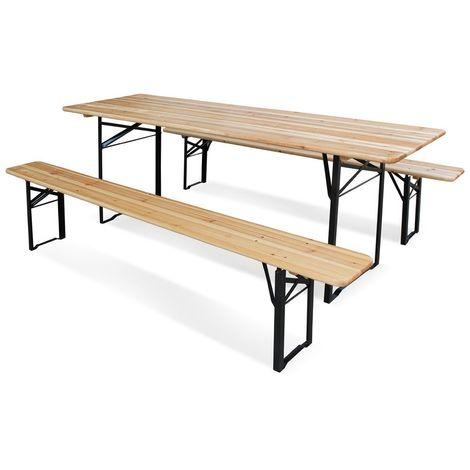 Set Birreria in legno richiudibile 220x70xh76cm tavolo 2 panche picnic
