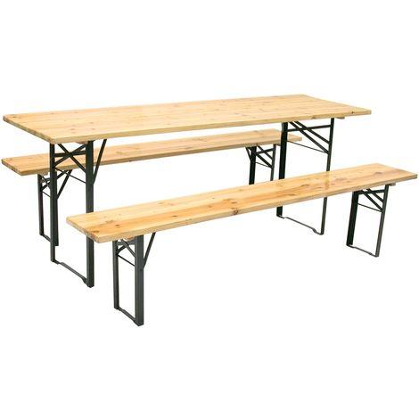 Set birreria in legno tavolo e 2 panche 200x60H77 cm per sagra campeggio fiera