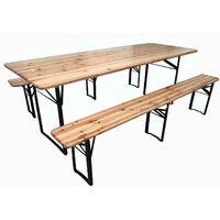 Set birreria LEGNO ABETE tavolo 220x80x76h panche 20x25x46cm feste giardino sagre