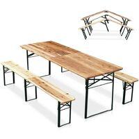 Set birreria pieghevole tavolo panche legno feste giardino sagre 220x80