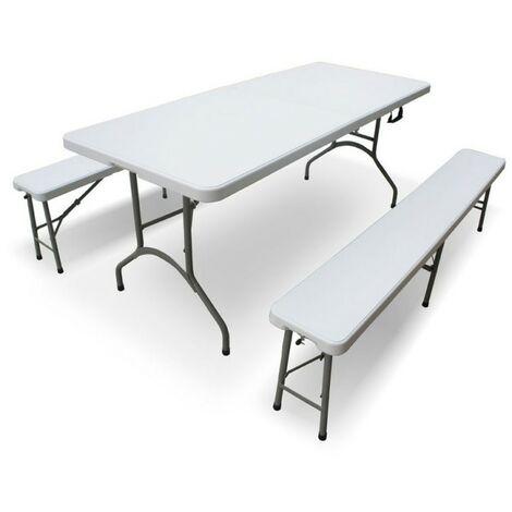Tavoli In Plastica Pieghevoli.Set Birreria Pieghevole Tavolo Piu 2 Panche In Resina 133765