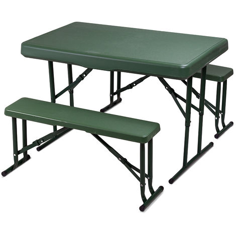 Set birreria Plastik 105 tavolo 2 panche polietilene bianco o verde