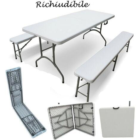 Tavoli In Plastica Pieghevoli.Set Birreria Richiudibile In Resina Tavolo 2 Panche Arredo Esterno