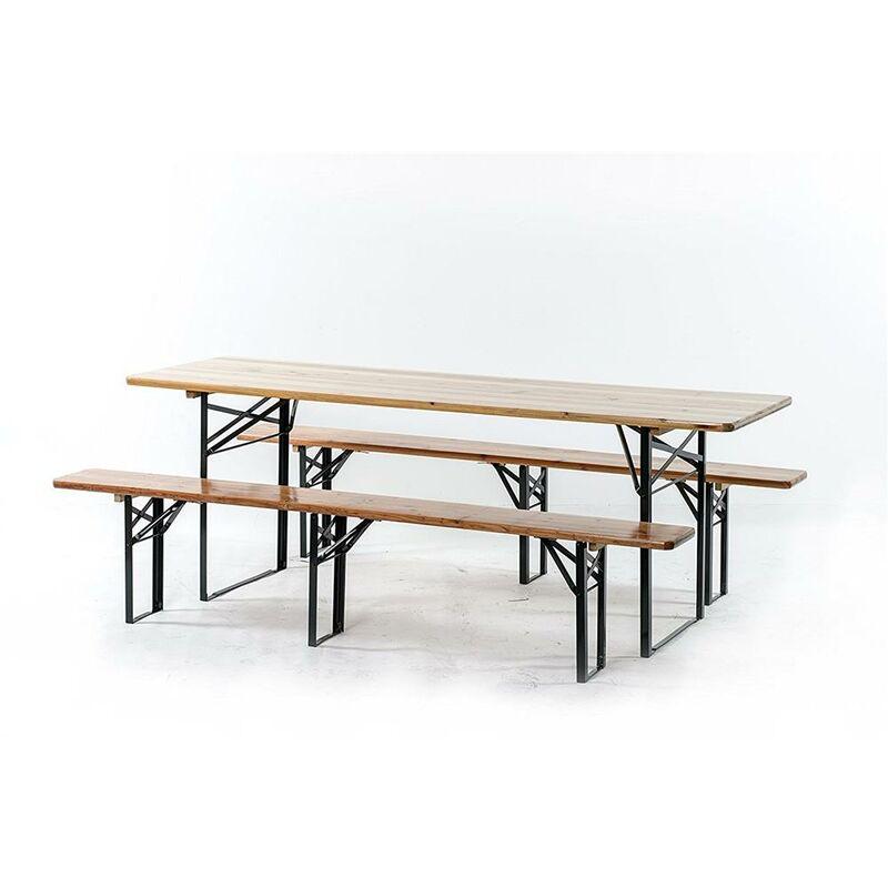 Tavoli E Panche Per Sagre.Set Birreria Tavolo 220x70cm E Due Panche 220x25cm Con Gambe