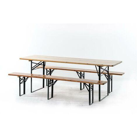 Tavoli Con Gambe Richiudibili.Set Birreria Tavolo 220x70cm E Due Panche 220x25cm Con Gambe