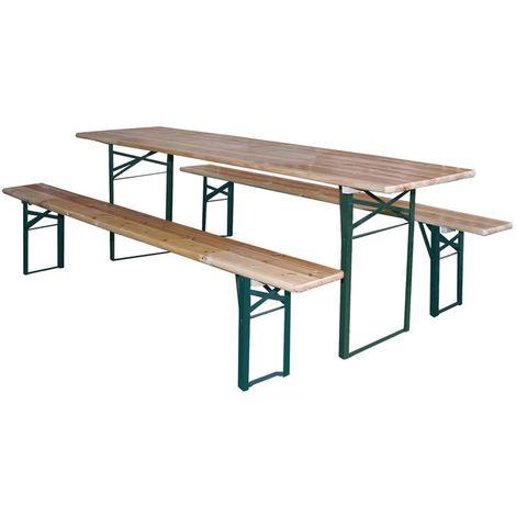 Set birreria tavolo e panche richiudibili 200x50xh78cm arredo giardino esterno